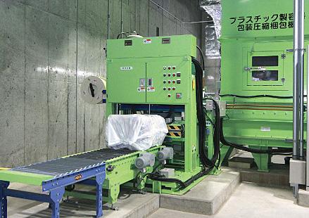 プラスチック製容器包装圧縮梱包機