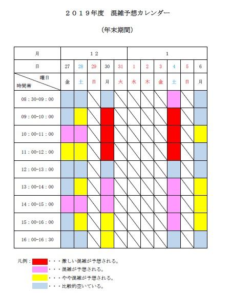 2019年度混雑予想カレンダー(年末期間)